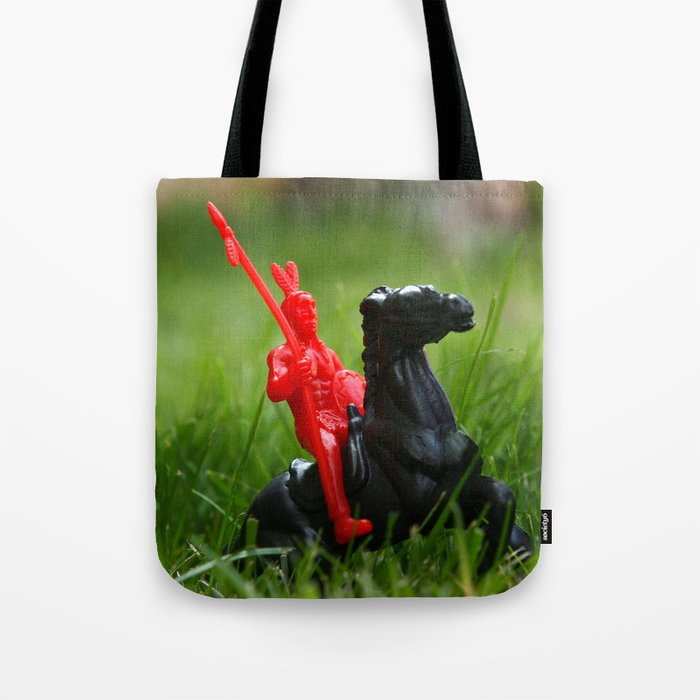 Red Indian on a Black Horse in the Green Grass Tote Bag