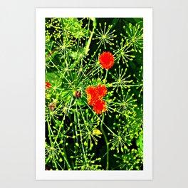 Neon floral burst of energy Art Print