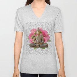 Buddha Rose Silver Mandala Unisex V-Neck