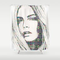 cara Shower Curtains featuring Cara Delevigne by fashionistheonlycure