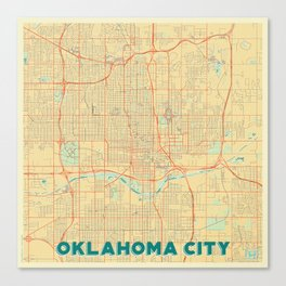Oklahoma City Map Retro Canvas Print
