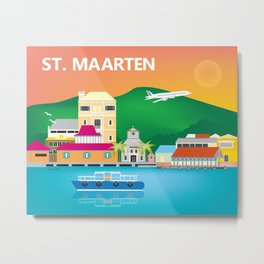 St. Maarten - Skyline Illustration by Loose Petals Metal Print