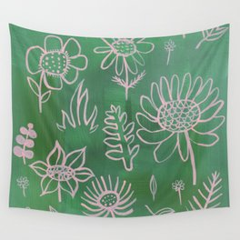 Pink Nature on Green Wall Tapestry