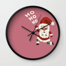 "Christmas ""HOHOHO"" Slogan Santa Claus - Dusty Pink Wall Clock"