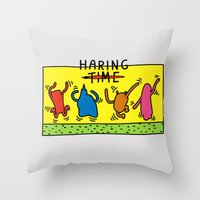 keith haring Throw Pillows featuring Haring Time by le.duc