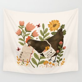 Chicken Reading a Book Wall Tapestry