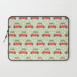 Fun Christmas Cars And Christmas Trees Holiday Pattern Laptop Sleeve