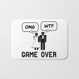Mens Game Over | Funny Bachelor Party, Wedding Humor Mens print product Bath Mat
