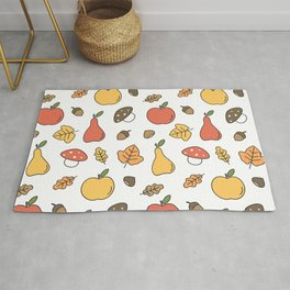 cute colorful autumn fall pattern with pears, apples, leaves, acorns, chestnuts and mushrooms Rug