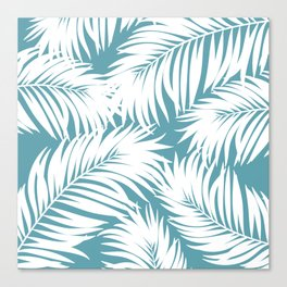 Palm Tree Fronds White on Soft Blue Hawaii Tropical Décor Canvas Print