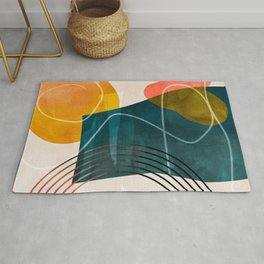 mid century shapes abstract painting Rug
