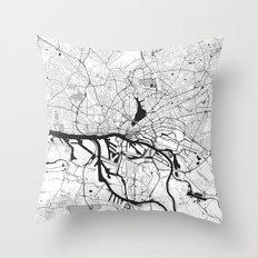 Hamburg City Map Gray Throw Pillow