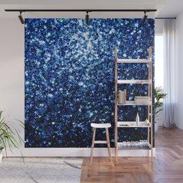 Beautiful Dark Blue glitter sparkles Wall Mural