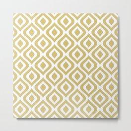 Mid Century Modern Diamond Ogee Pattern 124 Gold Metal Print