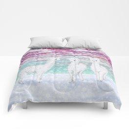 alpacas in the snow Comforters