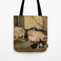 pigs Tote Bags featuring Pigs' Party by Vito Fabrizio Brugnola