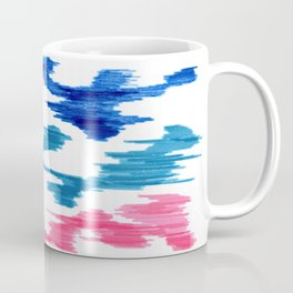 Bold Graphic Colorful Abstract Art Minimalist Tribal Pattern Mid Century Modern Blue And Pink Coffee Mug