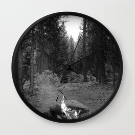 Backpacking Camp Fire B&W Wall Clock