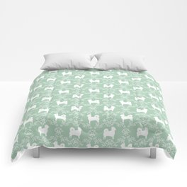 Chihuahua long haired mint and white floral silhouette pattern dog breed art Comforters