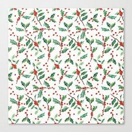 Festive Holly Pattern Canvas Print