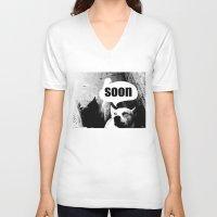 meme V-neck T-shirts featuring Dog meme: soon by Capadochio