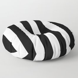 Abstract Black and White Vertical Stripe Lines 6 Floor Pillow
