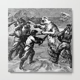 Battle with Animals Metal Print