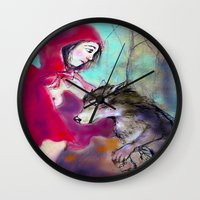 red hood Wall Clocks featuring red hood by AliluLera