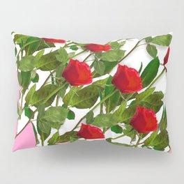 RED LONG STEMMED ROSES & PINK COLOR Pillow Sham