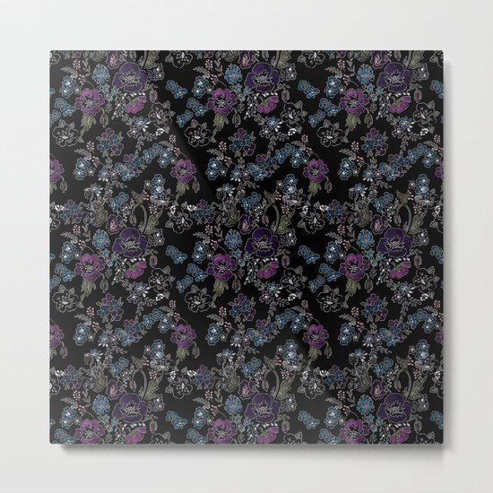 Floral pattern on a black background . Blue and purple flowers . Metal Print