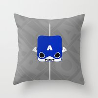 steve rogers Throw Pillows featuring Marshmallow Steve Rogers by Oblivion Creative