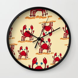 Crabs in yellow sand by Jana Sigüenza Wall Clock