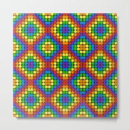 Rainbow Mosaic Diamond Pattern on Black Metal Print