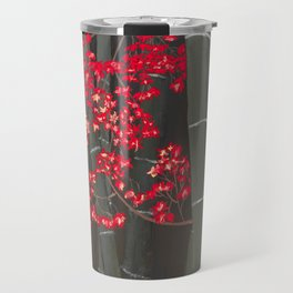 Bamboo and Fall Red leaves of Kyoto maple trees Travel Mug