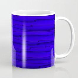 Horizontal bright blue lines on a dark tree. Coffee Mug