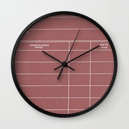 Library Card BSS 28 Negative Red Wall Clock