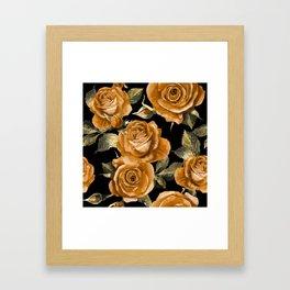 Retro Orange Roses On Black Framed Art Print