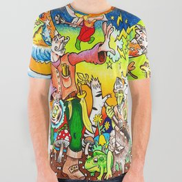 Dragons & Dungeons Wizard Fight All Over Graphic Tee