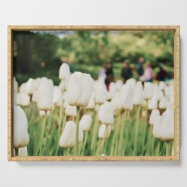 White tulips Serving Tray