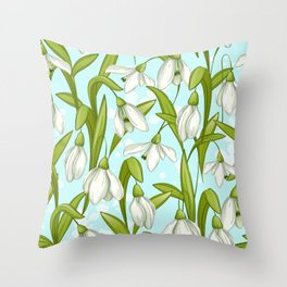 White Snowdrops Flowers and Spring Green Leaves Throw Pillow