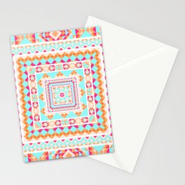 Ethnic geometric pattern with elements of traditional tribal folk style. Stationery Cards