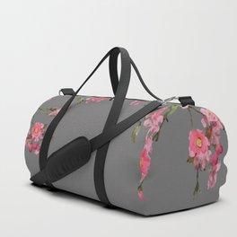 Cherry Flowers grey background Duffle Bag