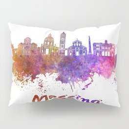 Messina skyline in watercolor Pillow Sham