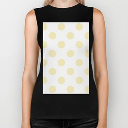 Large Polka Dots - Blond Yellow on White Biker Tank
