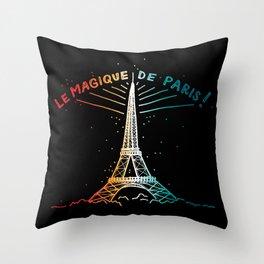 Le Magique De Paris (the magic of...) French Artwork, Eiffel Tower Print Throw Pillow