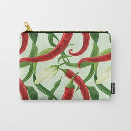 Red chili and lily bud watercolor seamless pattern Carry-All Pouch