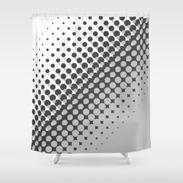Dark grey and light grey halftone pattern Shower Curtain