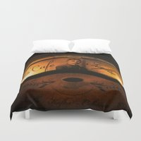 cafe Duvet Covers featuring Cafe Kafka by Bella Blue Photography