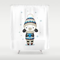 sheep Shower Curtains featuring Sheep by Freeminds