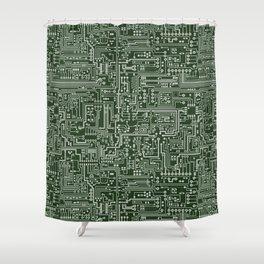 Circuit Board // Green & Silver Shower Curtain